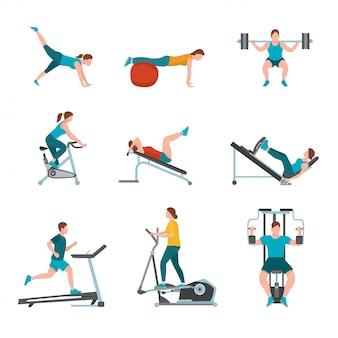 Ilustración de ejercicios de gimnasio, entrenadores de gimnasios modernos, personajes masculinos y femeninos haciendo ejercicio, personas que se ejercitan con equipos y máquinas deportivas, estilo de vida saludable