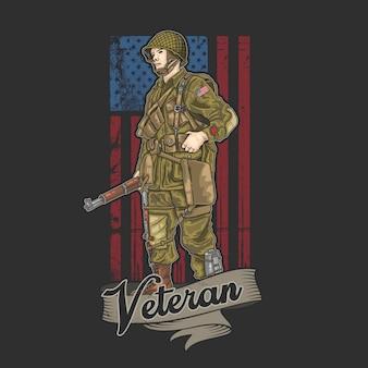 Ilustración del ejército americano de la guerra mundial