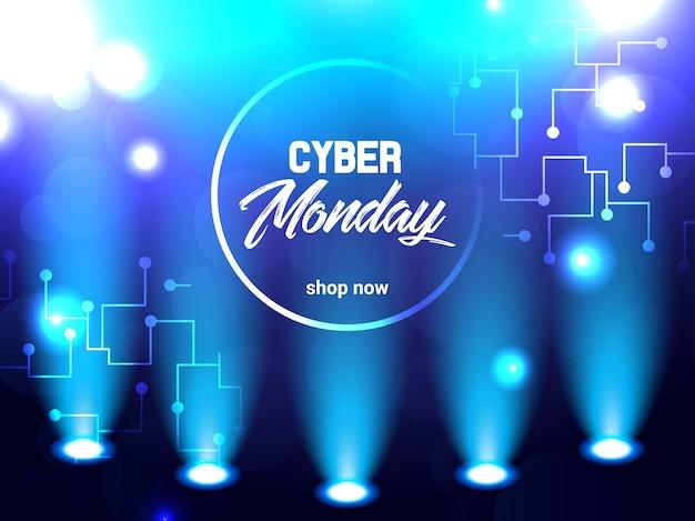 Ilustración eléctrica brillante abstracta para el lunes cibernético