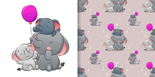 La ilustración del elefante familiar jugando los globos de colores.