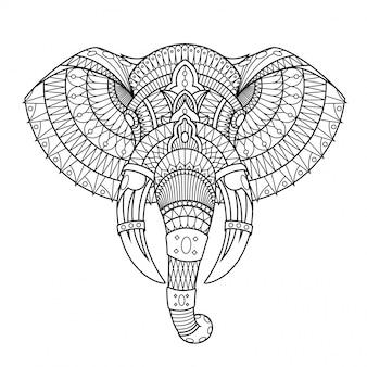 Ilustración de elefante, mandala zentangle en libro para colorear de estilo lineal