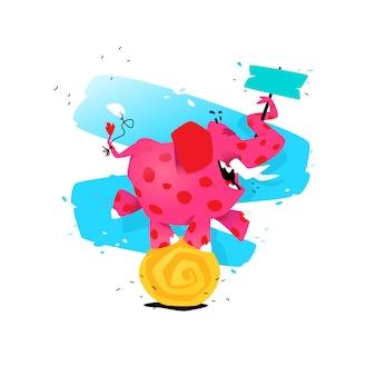 Ilustración de un elefante rosado de la historieta en una bola.
