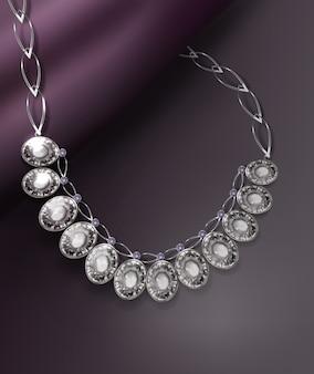 Ilustración de un elegante collar realista con piedras preciosas