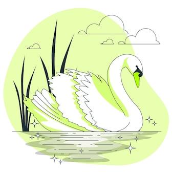 Ilustración elegante del concepto del cisne