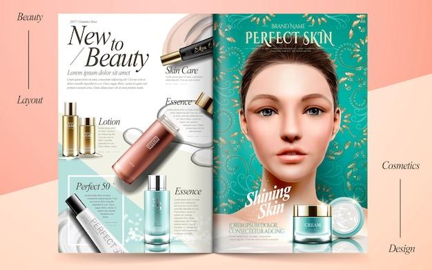 Ilustración elegante del diseño del folleto del cuidado de la piel