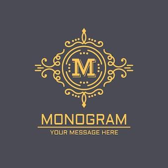 Ilustración elegante de la plantilla del lineart del monograma en oscuridad