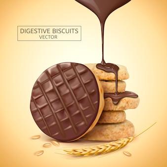 Ilustración de elemento de galletas digestivas de chocolate
