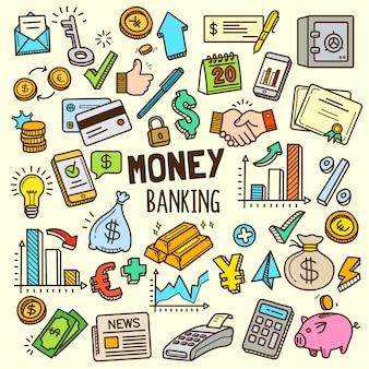 Ilustración de elementos de dinero y banca