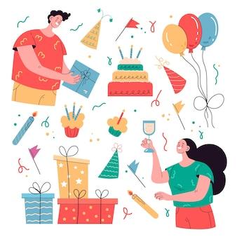 Ilustración de elementos de feliz cumpleaños