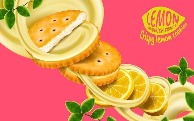 Ilustración de elementos de galletas de sándwich de limón