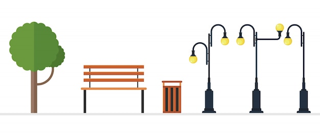 Ilustración de elementos del parque aislado sobre fondo blanco