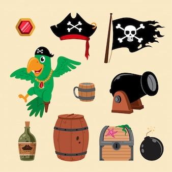 Ilustración de elementos piratas