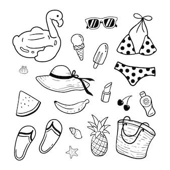 Ilustración de elementos de playa de verano
