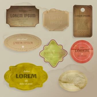 Ilustración de elementos de scrapbooking de restos de papel vintage para plantilla de marcos, etiquetas o etiquetas