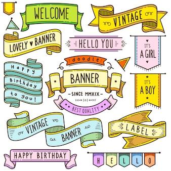 Ilustración de elementos vintage banner y cinta