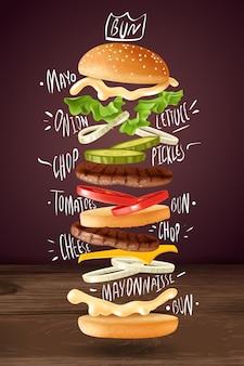 Ilustración de elementos voladores de hamburguesa realista