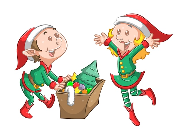 La ilustración del elfo gemelo usa el disfraz de navidad verde y sostiene una caja de la decoración del árbol de navidad