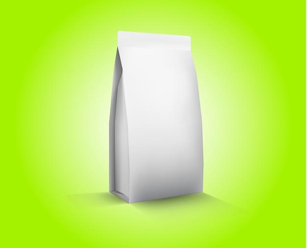 Ilustración de embalaje de alimentos de papel blanco en blanco de vector