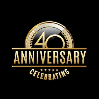 Ilustración de emblema de aniversario de 40 años