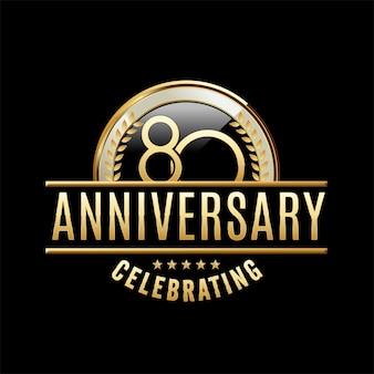 Ilustración de emblema de aniversario de 80 años