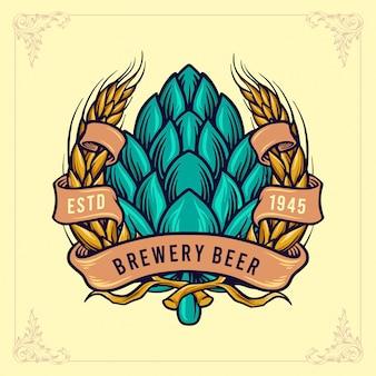 Ilustración de emblema de cerveza de cervecería