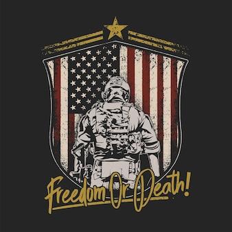 Ilustración de emblema de escudo de soldado americano
