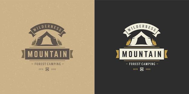 Ilustración de emblema de logo de camping de bosque