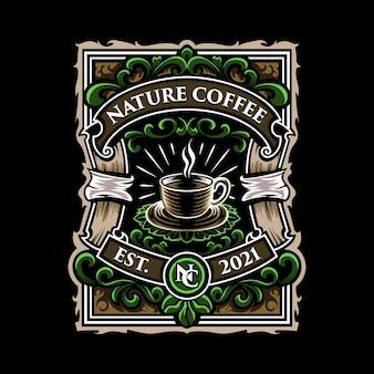 Ilustración de emblema de logotipo de café de naturaleza