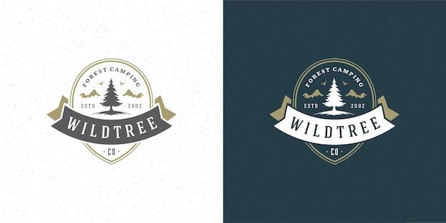 Ilustración de emblema de logotipo de silueta de árbol de pino