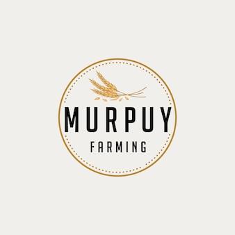 Ilustración emblema trigo alimentos nutrición diseño de logotipo vintage gráfico vectorial