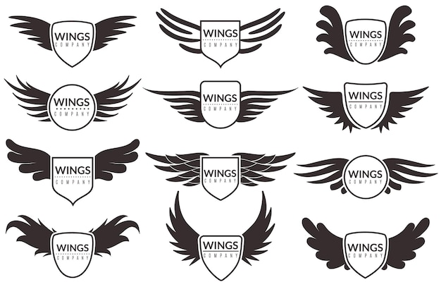 Ilustración de emblemas y pegatinas de logotipo de alas