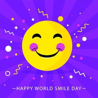 Ilustración de emoji y confeti sonrientes ruborizados