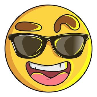 Ilustración de emoji sonriente lindo en swag.