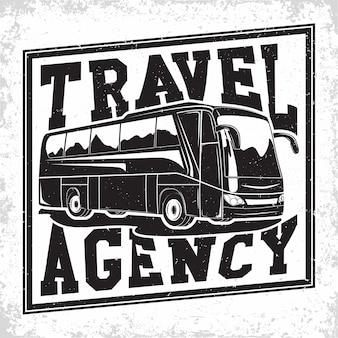 Ilustración de la empresa de viajes en autobús