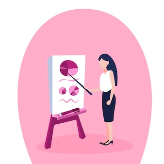 Ilustración de una empresaria apuntando al rotafolio