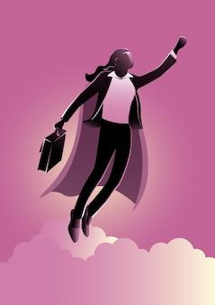 Una ilustración de empresaria héroe con superpoder volando