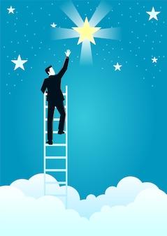 Ilustración de un empresario alcanzar las estrellas