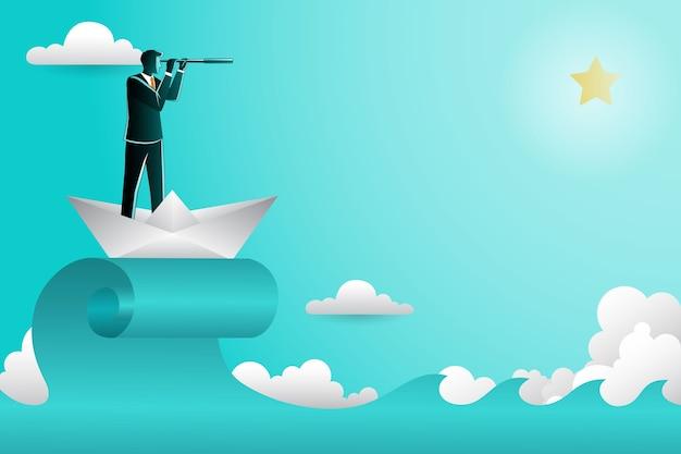 Ilustración del empresario con binoculares en barco de papel buscando alcanzar una estrella