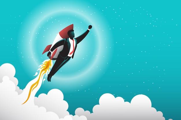 Ilustración del empresario con cohete hacia el cielo