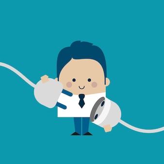 Ilustración de un empresario de conexión