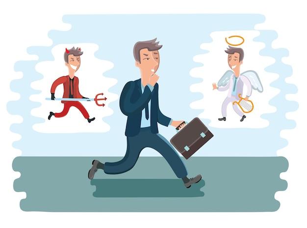 Ilustración de empresario de dibujos animados caminando. diablo y ángel de diferentes lados de él.