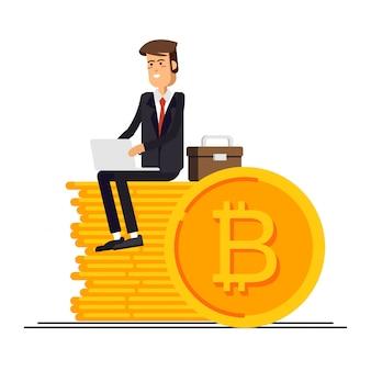 Ilustración del empresario y empresaria usando una computadora portátil y un teléfono inteligente para la financiación en línea y hacer inversiones