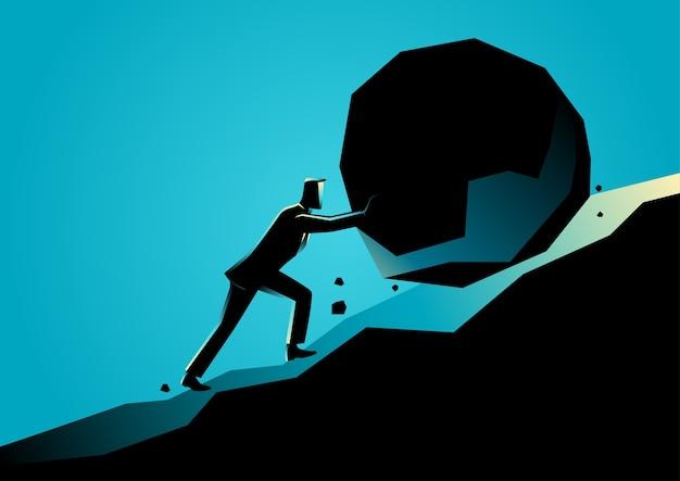 Ilustración de un empresario empujando piedra grande cuesta arriba