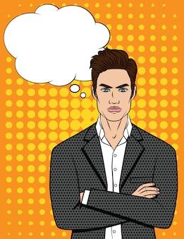 Ilustración del empresario enojado con los brazos cruzados