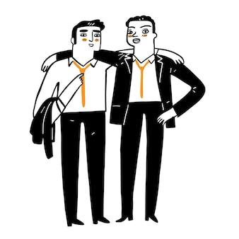 Ilustración de un empresario en equipo