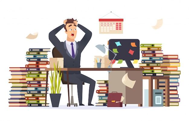 Ilustración de empresario con exceso de trabajo