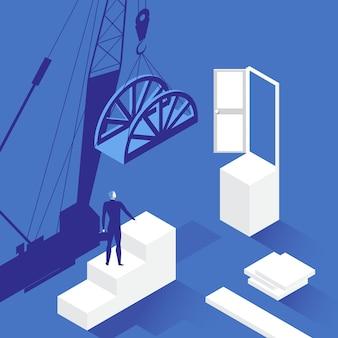 Ilustración del empresario frente a la puerta abierta