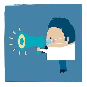 Ilustración de un empresario con una mascarilla y un megáfono