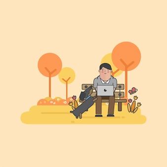 Ilustración del empresario y un perro