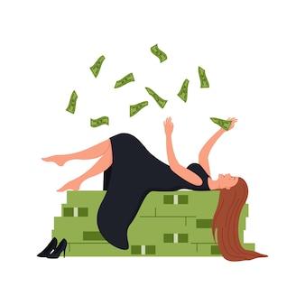 Ilustración empresario rico en conjunto de estabilidad financiera
